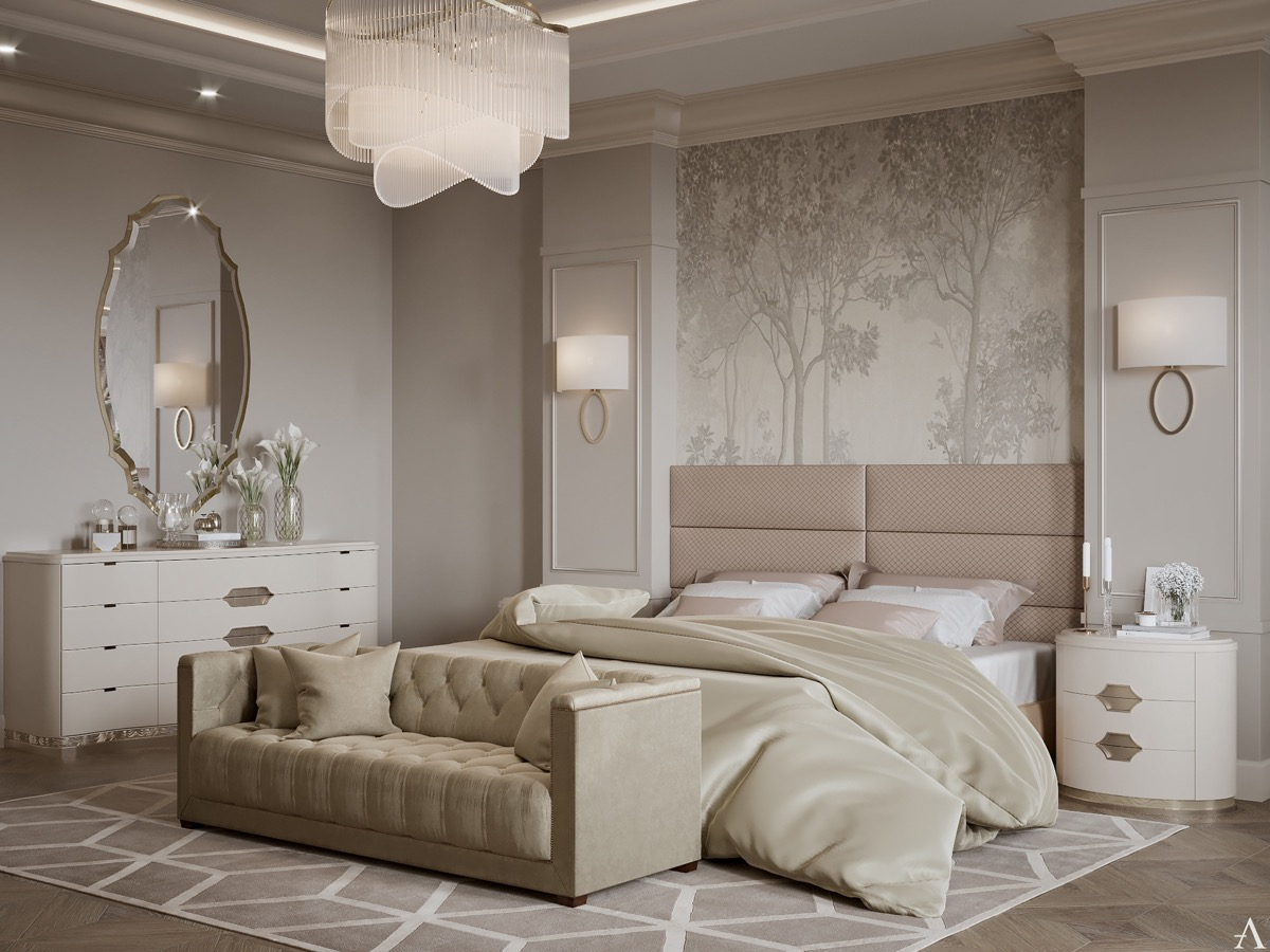 Home Design Ideas and Tips: blush and taupe transitional bedroom design ideas with curved furniture
