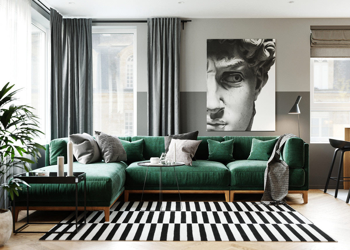 . Jewel Tone Colors in a Contemporary Two Bedroom Apartment  With