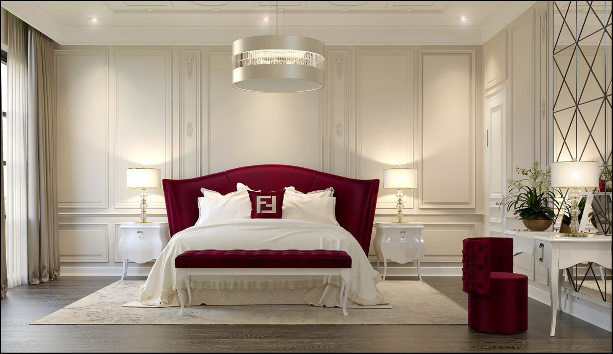 dark red transitional style bedroom color theme ideas