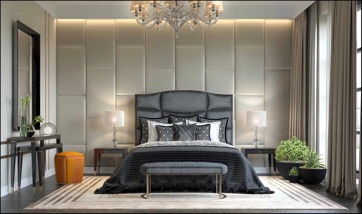 dark transitional bedroom inspiration with colorful accessories