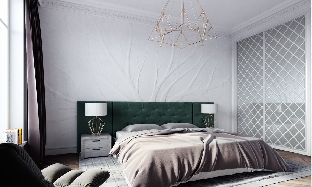 emerald green headboard inspiration for transitional style bedrooms