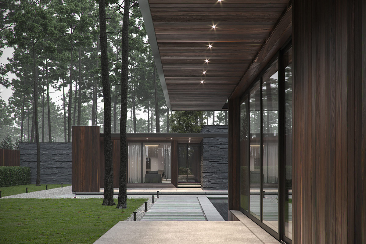 Modern Single Story Forest House With Pool in Ukraine