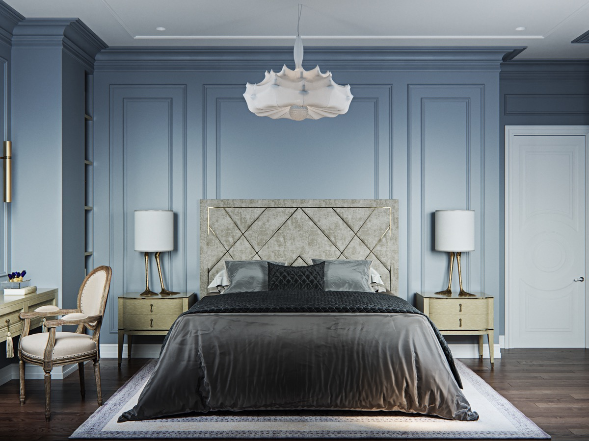 light blue transitional bedroom with unique duck foot lamps and webbed chandelier