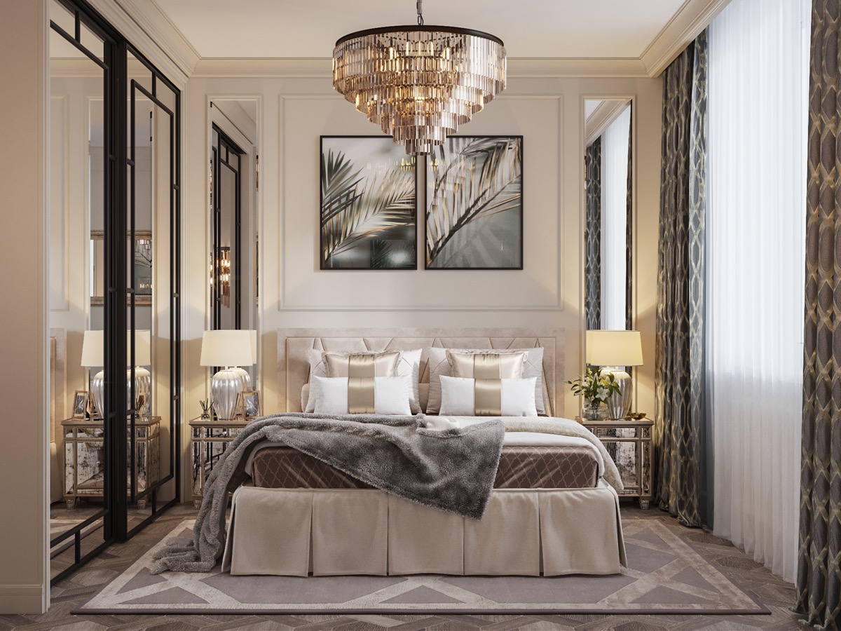 luxurious material inspiration for transitional bedroom interior design