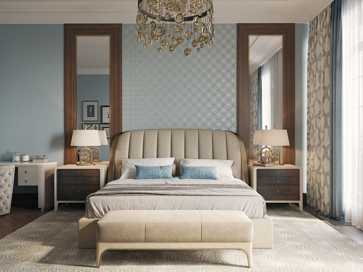 pattern ideas for transitional style bedroom designs in light blue and gold