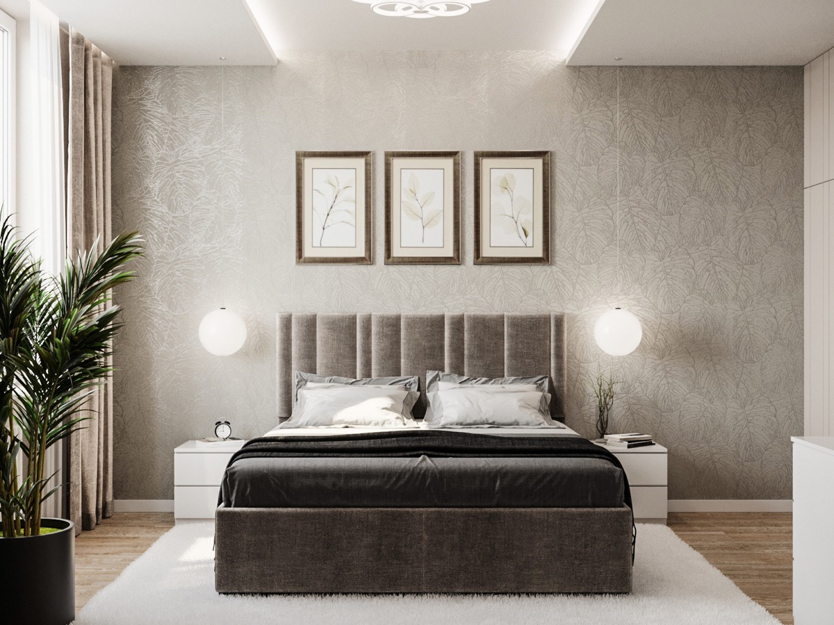 simple neutral transitional bedroom design with natural art and minimalist furniture