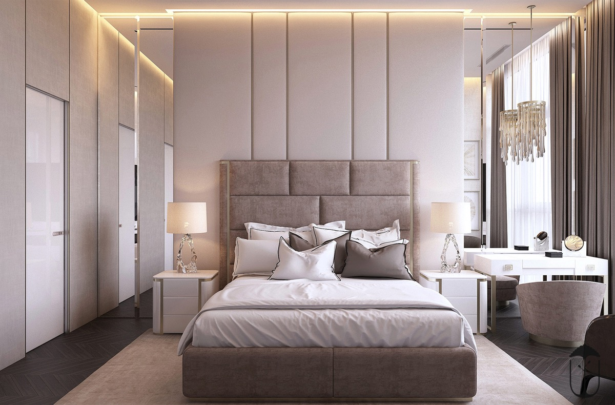simple transitional bedroom design tips with luxury lighting accents