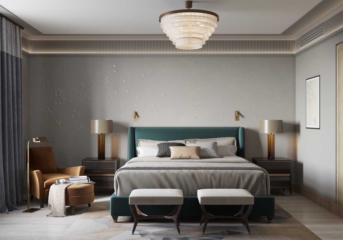 Home Design Ideas and Tips: teal and amber color theme in transitional bedroom design with vintage style