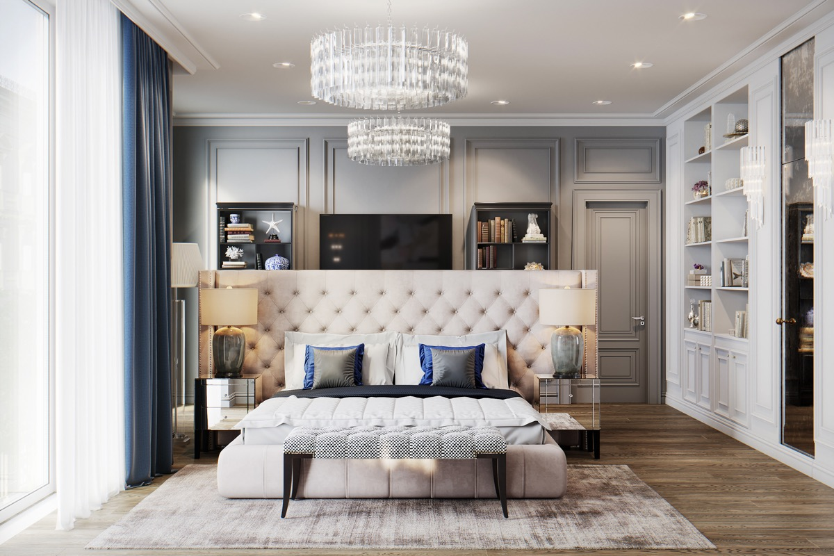 tips for transitional style bedroom design in a large room