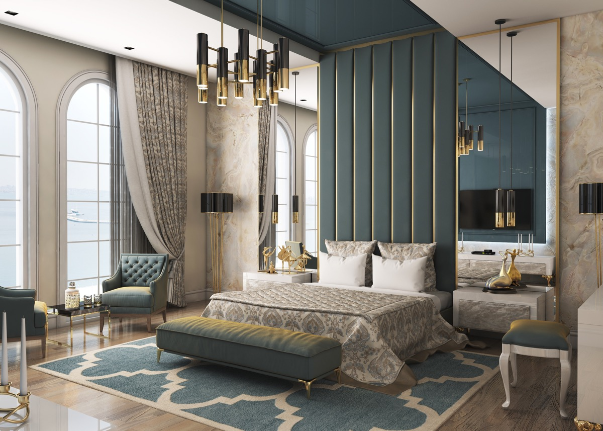 Home Design Ideas and Tips: unique teal and gold color palette for transitional style bedroom designs