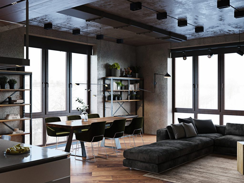 Luxury Apartment With An Industrial Vibe And A Cool Hallway
