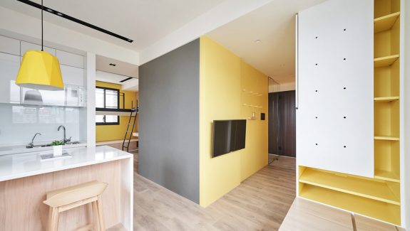 Small Interiors Made Airy With White And Yellow Decor And Space Saving Solutions