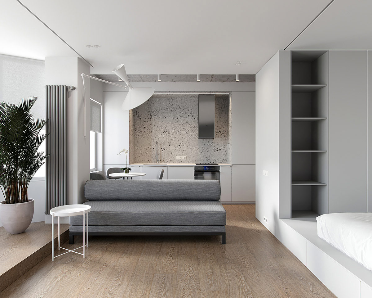 Two Minimalist Studio Apartments Making Statements With Shape