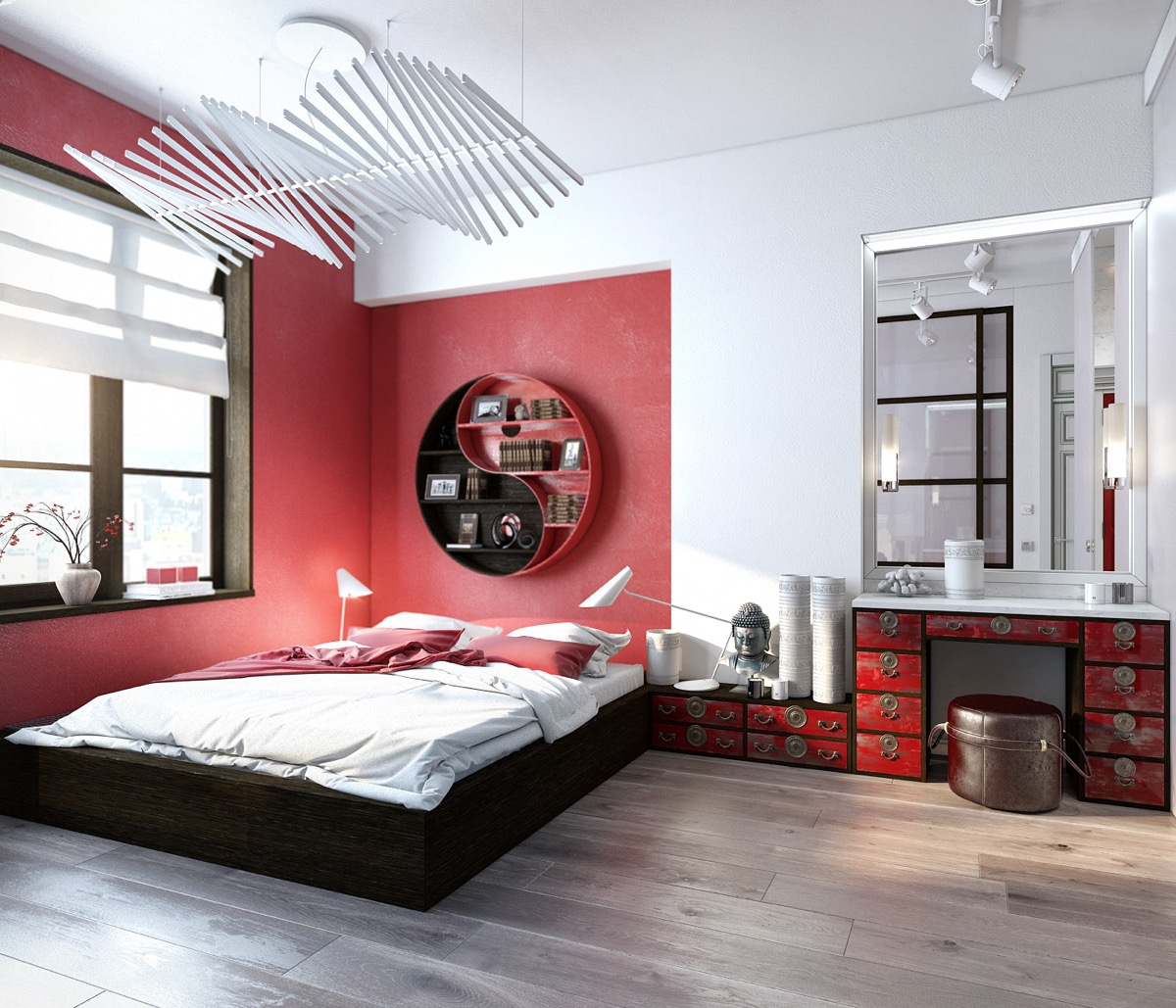 bedroom with red walls