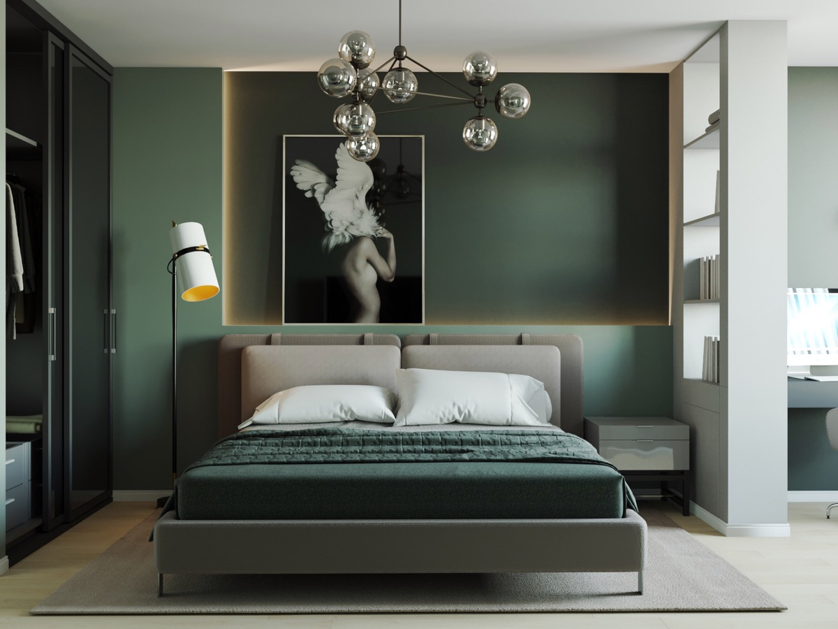 Peaceful bedroom decorated with dark green colours