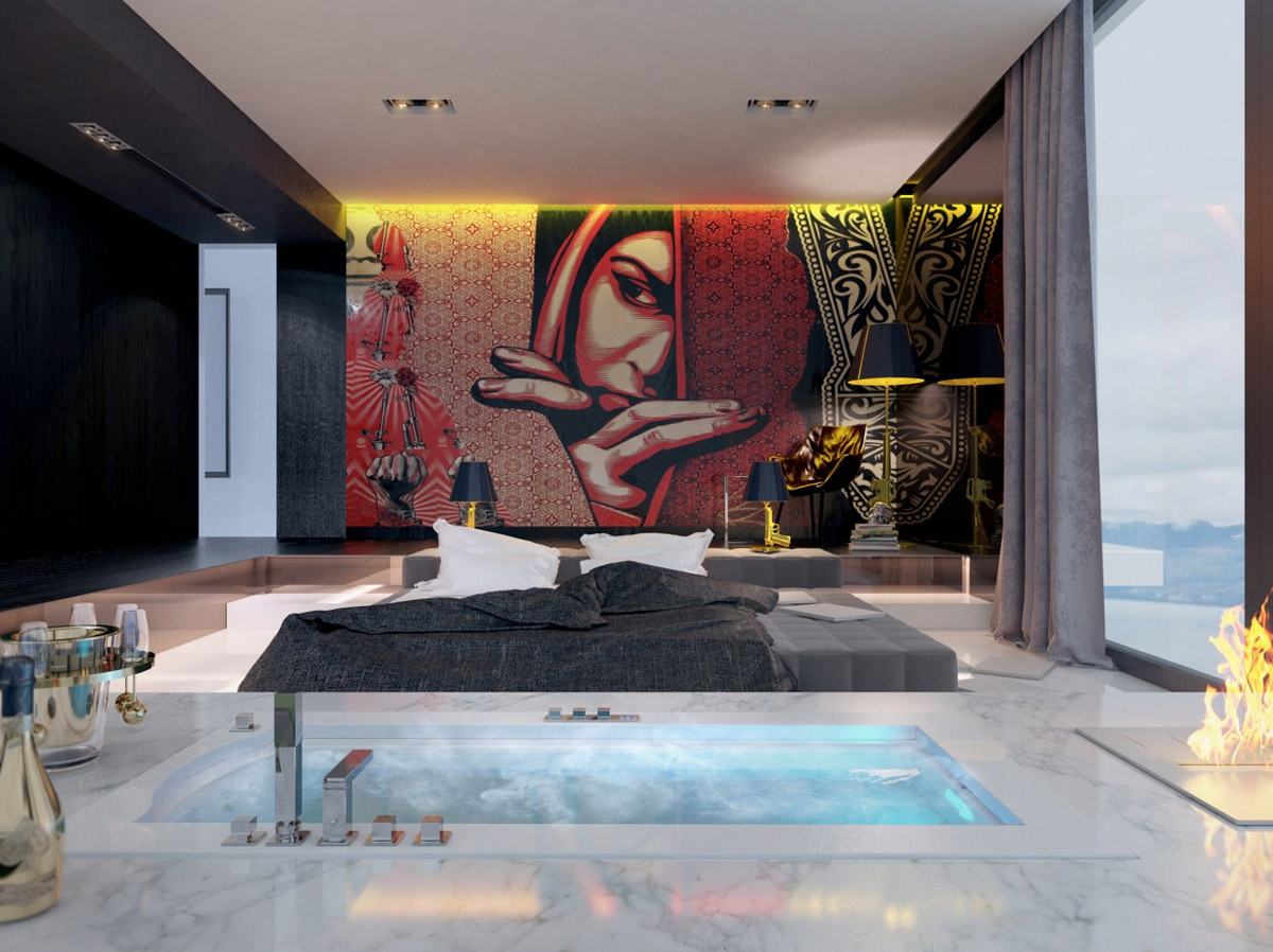 red and black bedroom decor
