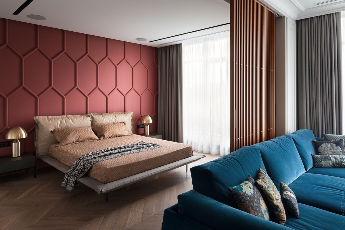 red and brown bedroom