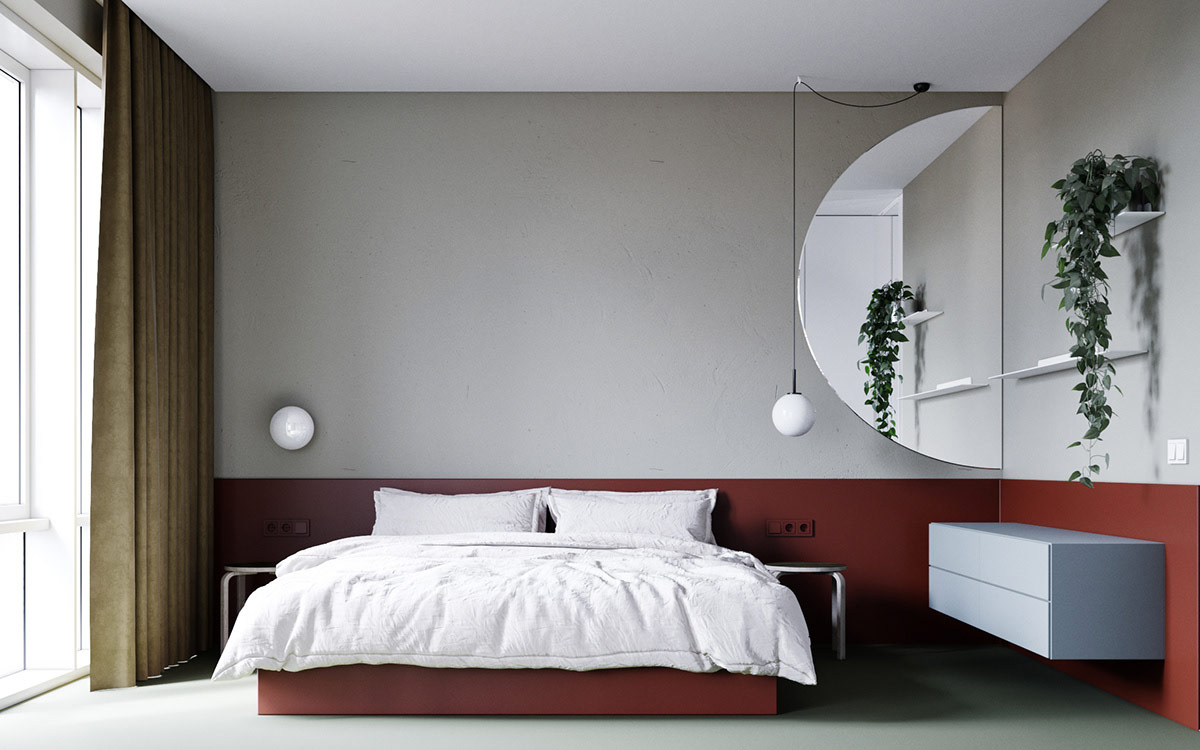 red and gray bedroom