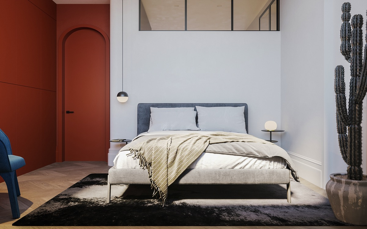 red colour bedroom