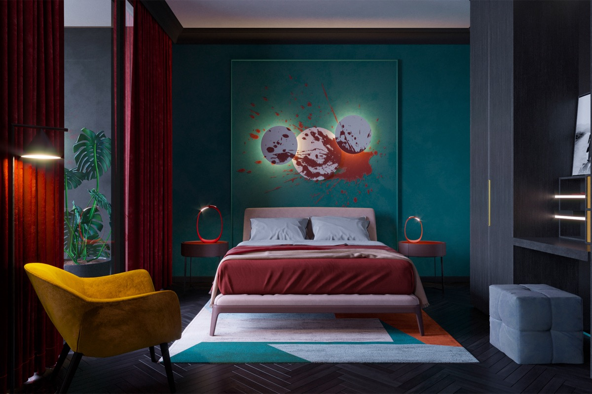 teal red and gold bedroom