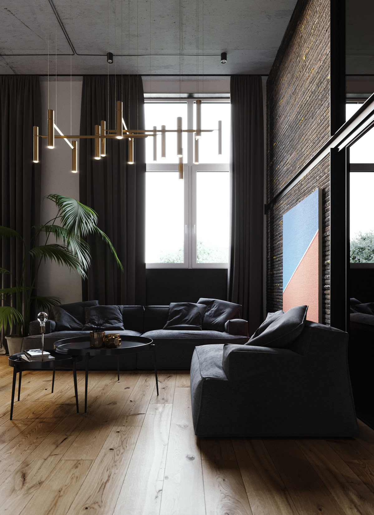 Moody Modern Industrial Interiors With Wood And Concrete Decor