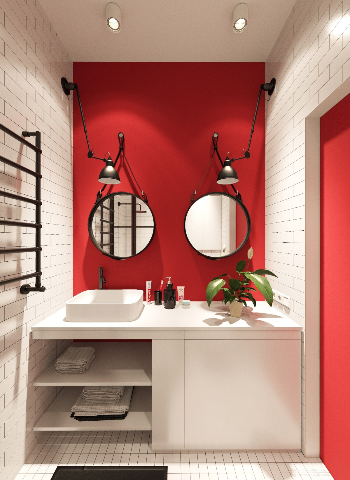 black red and white bathroom
