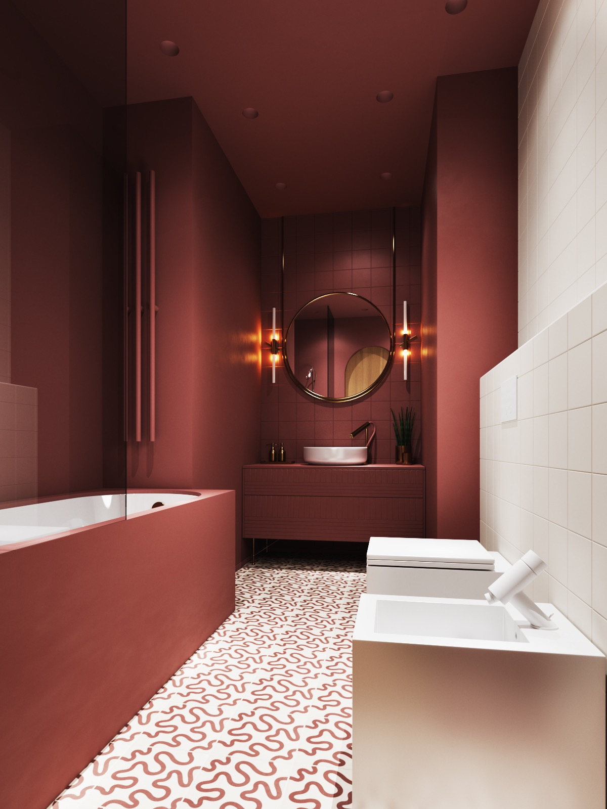 muted red bathroom