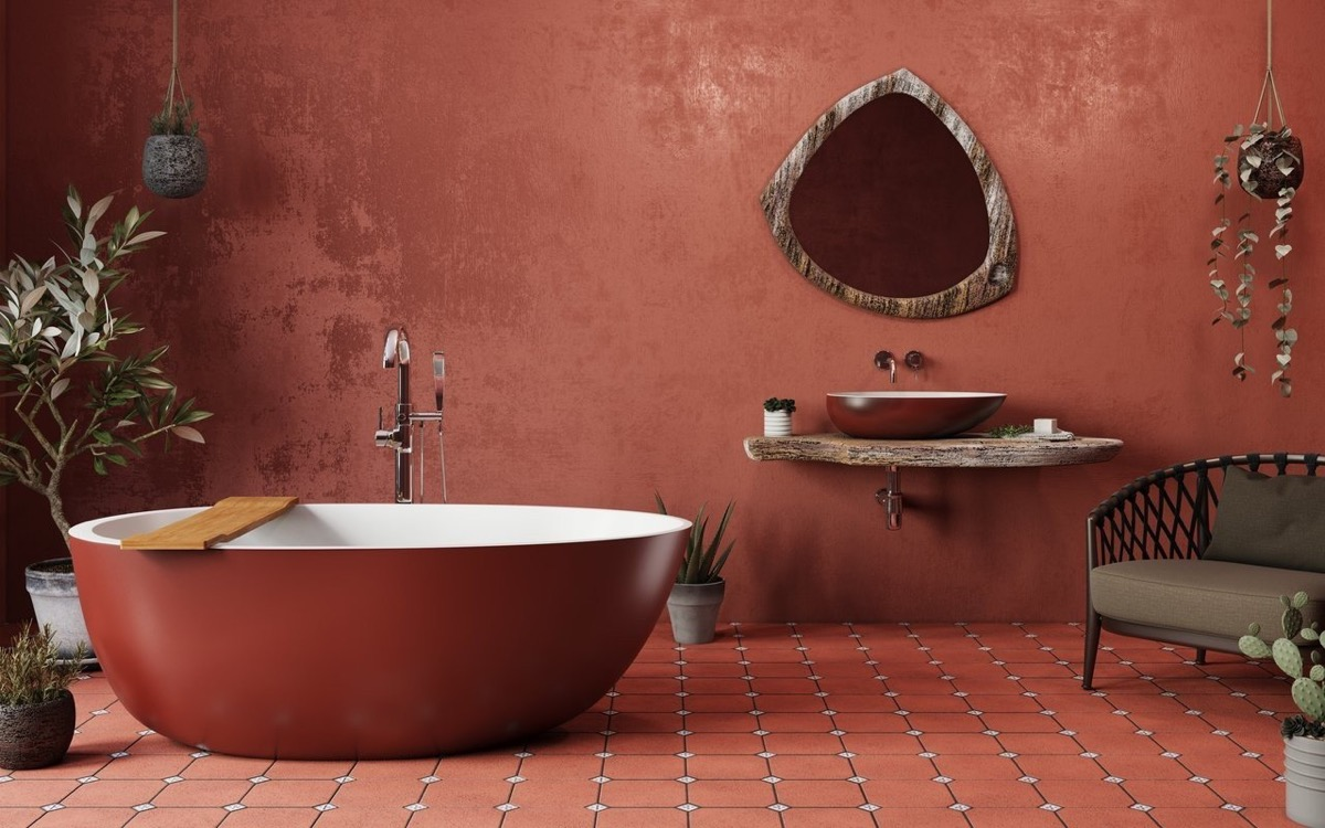 red and brown bathroom