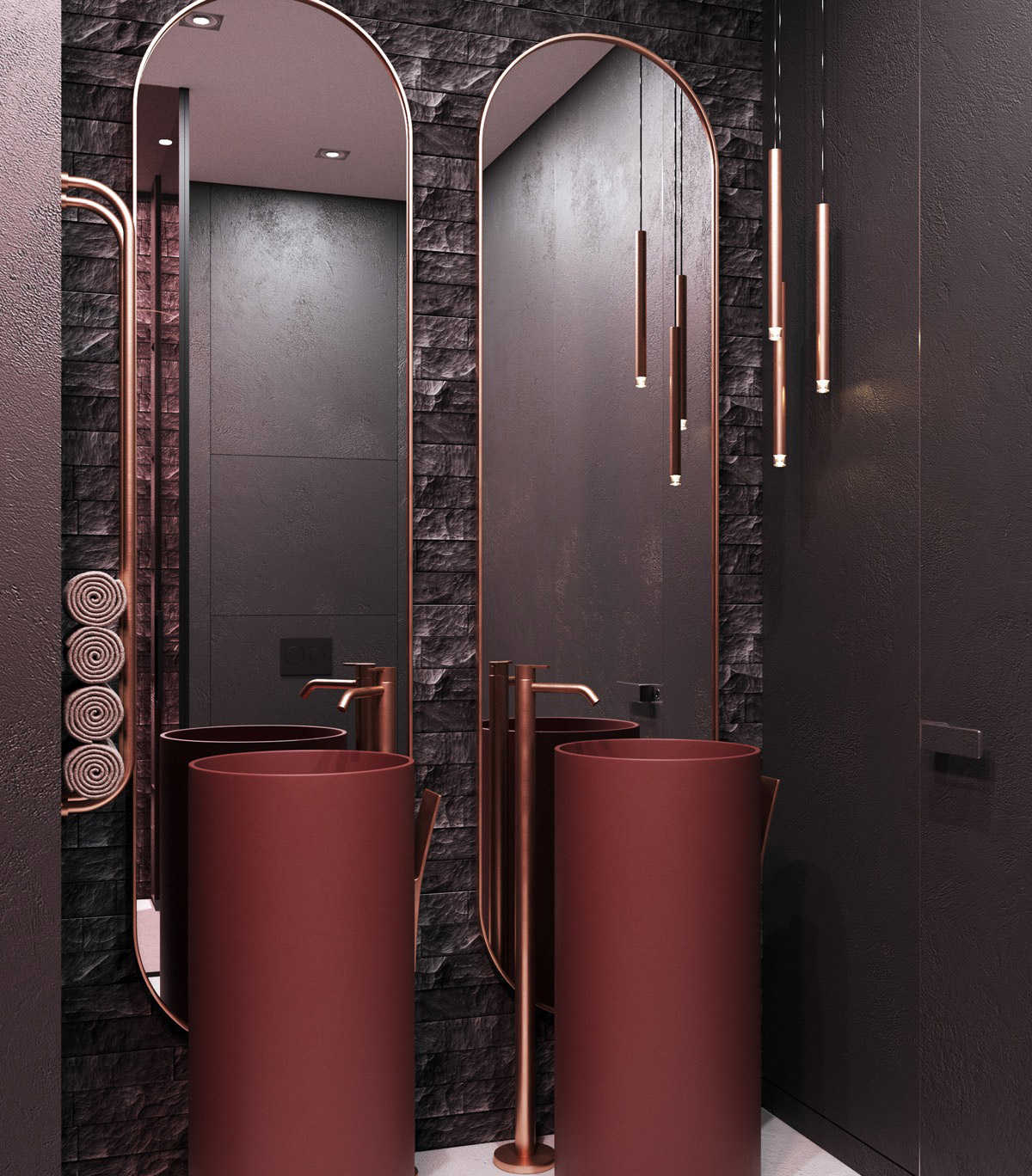 red and copper bathroom