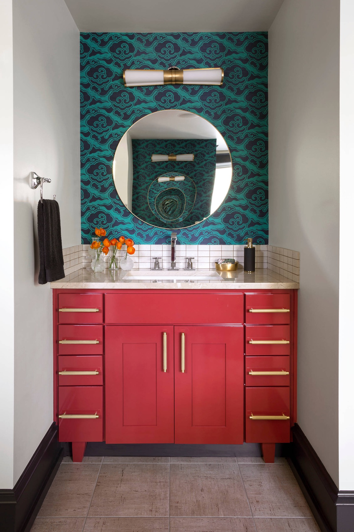 red and gold bathroom