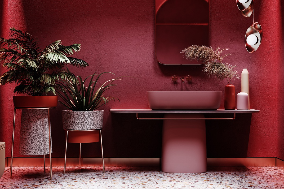 red and grey bathroom accessories