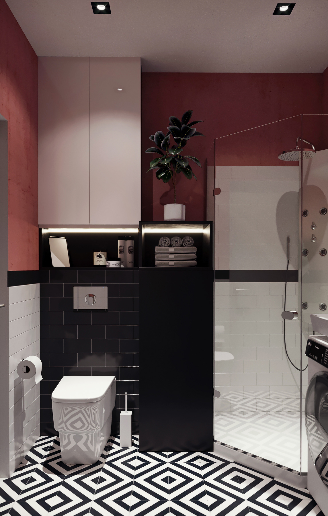 red and monochrome bathroom