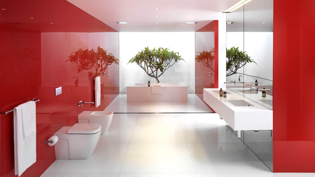 red and white bathroom ideas