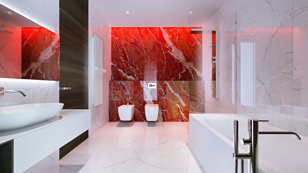red bathroom feature wall