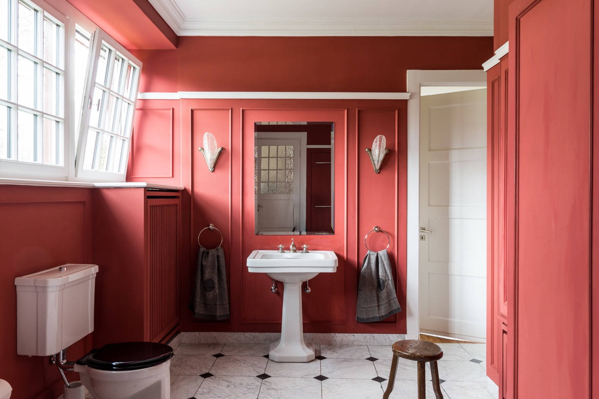 red black and white bathroom