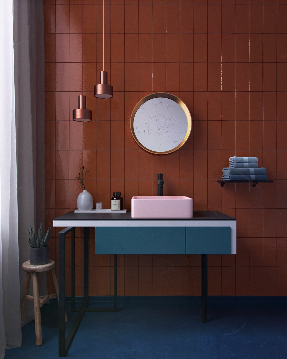 red blue and gold bathroom