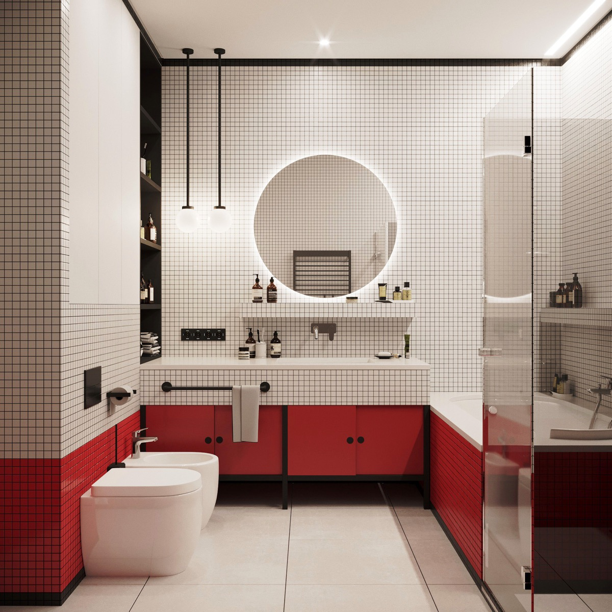 small red and white bathroom