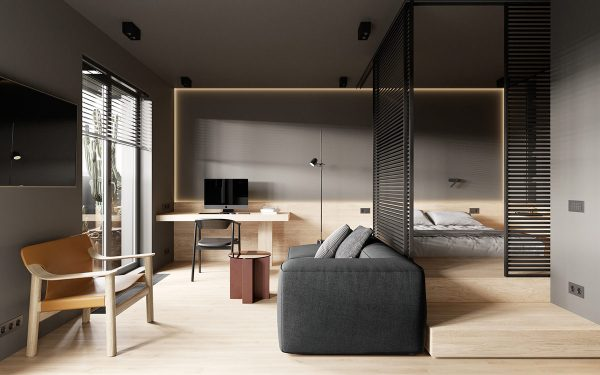 Creating Comfortable Living Spaces in a Modern Minimalist Studio