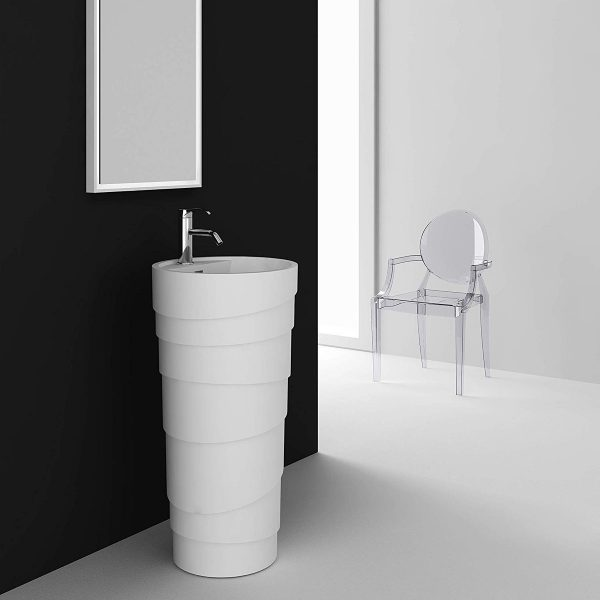 Home Design Ideas and Tips: artistic modern pedestal sink design with textured surface round shape