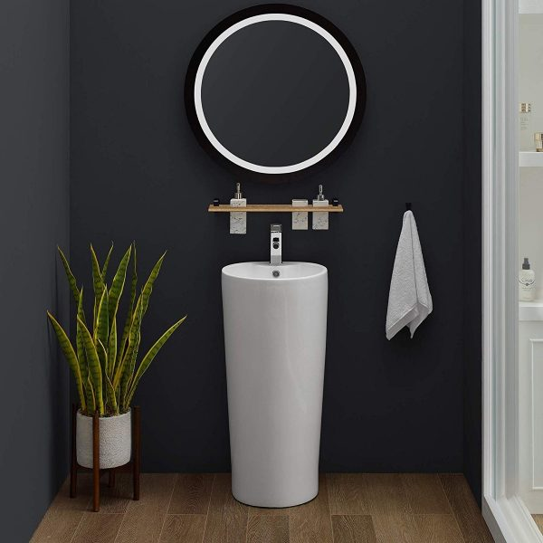 Home Design Ideas and Tips: contemporary pedestal sink with glossy white finish tapered body for modern bathrooms