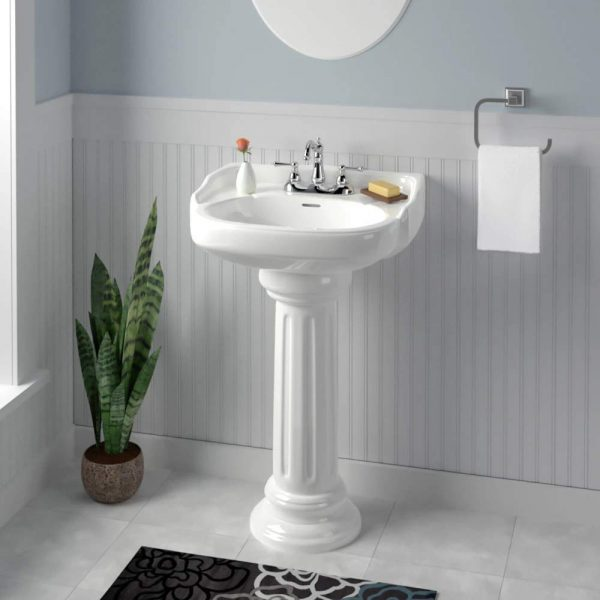 Home Design Ideas and Tips: cute pedestal sink with backsplash classic design for traditional bathroom themes