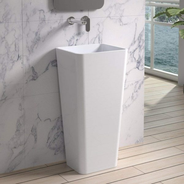 Home Design Ideas and Tips: freestanding square pedestal sink minimalist style