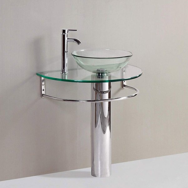Home Design Ideas and Tips: glass pedestal sink with steel base vessel shaped design for modern industrial bathrooms