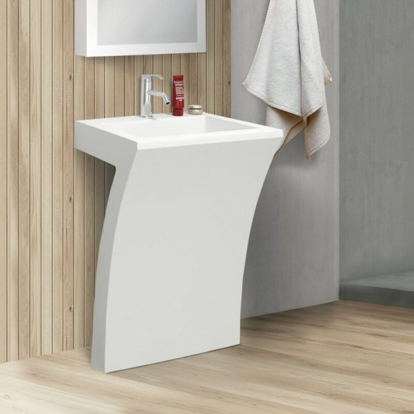 Home Design Ideas and Tips: sculptural modern acrylic pedestal sink unique shape for contemporary bathroom themes