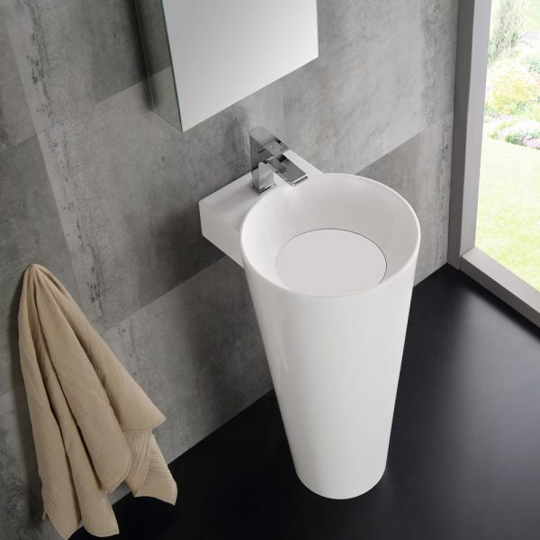 Home Design Ideas and Tips: tapered white pedestal sink with medicine cabinet mirror set