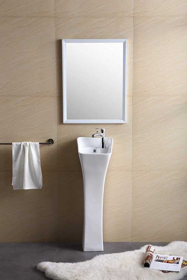 Home Design Ideas and Tips: tiny pedestal sink square shape tapered base for small modern bathrooms