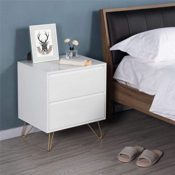 Small White Bedside Cabinet with Drawer