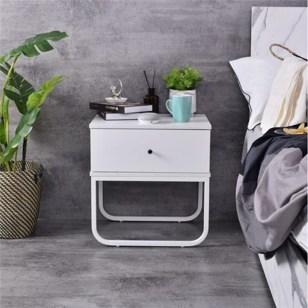 Bedside Cabinet Container Style Bedside Table Chest Grey