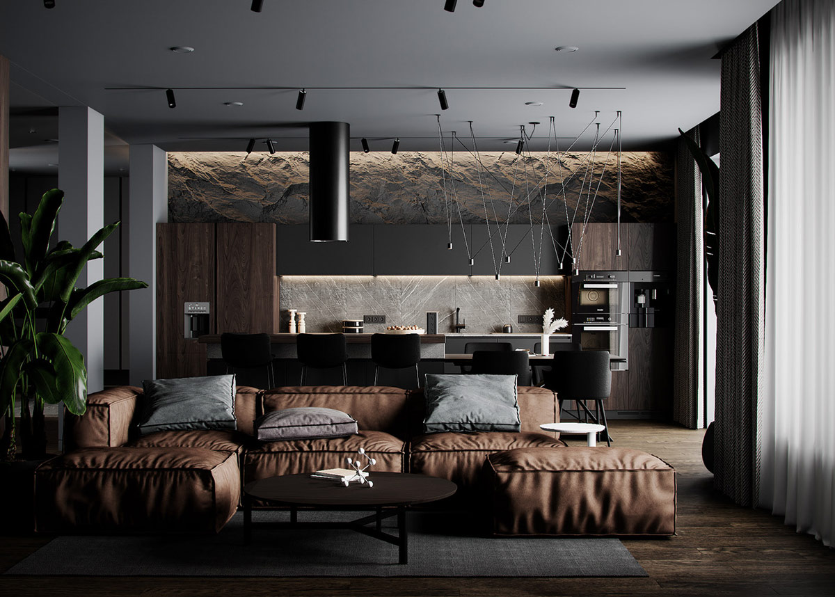 Earthy Brown And Black Decor With Rugged Rock Features Luxurious Lighting