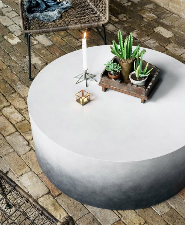 Home Design Ideas and Tips: concrete outdoor round coffee table with ombre finish sturdy patio furniture for poolside